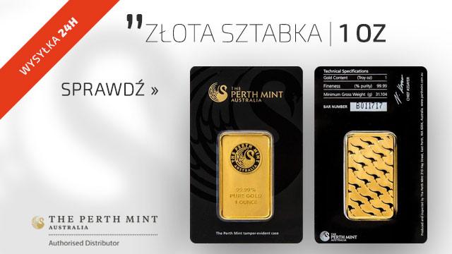 1 uncja Sztabka Złota Perth Mint