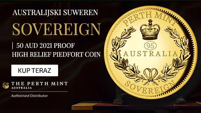 Australijski Suweren 50 AUD 2021 Proof High Relief Piedfort Coin