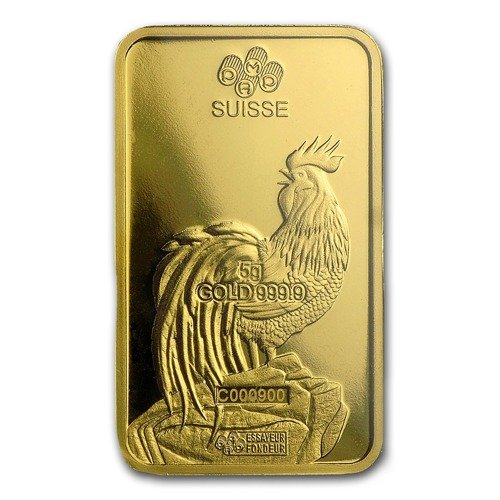 5 Gram Gold Bar Lunar Year Of The Rooster Year Of The