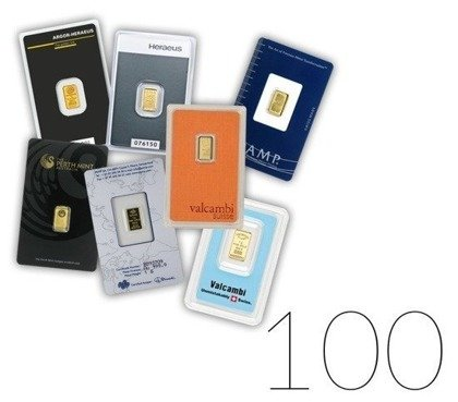1 gram Gold Bar LBMA Investment Sets 100 Pc.