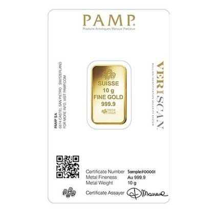 10 gram Gold Bar Pamp Fortuna Certipack Veriscan
