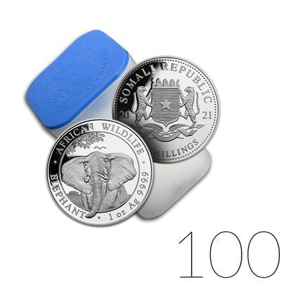 African Wildlife: Somalia Elephant 1 oz Silver 2021 Investment Sets 100 Pc.