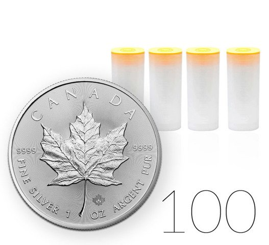 Canadian Maple Leaf 1 oz Silver Investment Sets 100 Pc.