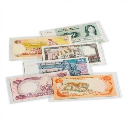 Clear plastic sleeves for banknotes