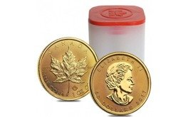 Coin Tubes Gold Canadian Maple Leaf