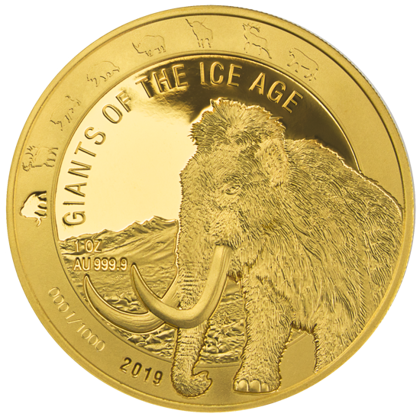 Ghana: Giants of the Ice Age - Woolly Mammoth 1 oz Gold 2019 Proof