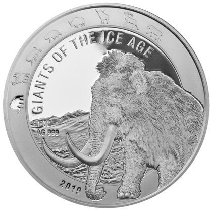 Ghana: Giants of the Ice Age - Woolly Mammoth 1 oz Silver 2019
