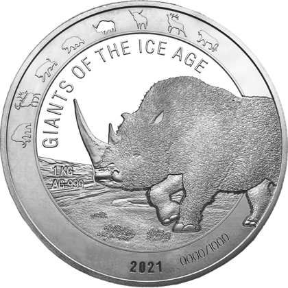 Ghana: Giants of the Ice Age - Woolly Rhinoceros 1 kg Silver 2021