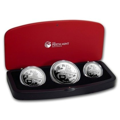 Lunar II: 3-Coin Year of the Dog Set ½ oz 1 oz 2 oz Silver Proof
