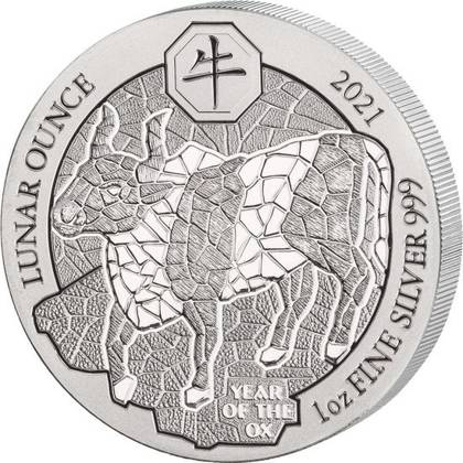Rwanda: Lunar - Year of the Ox 1 oz Silver 2021