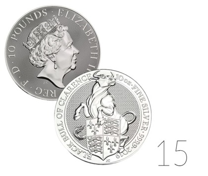 The Queen's Beasts: The Black Bull of Clarence 10 oz Silver 2019 Investment Sets 15 Pc.