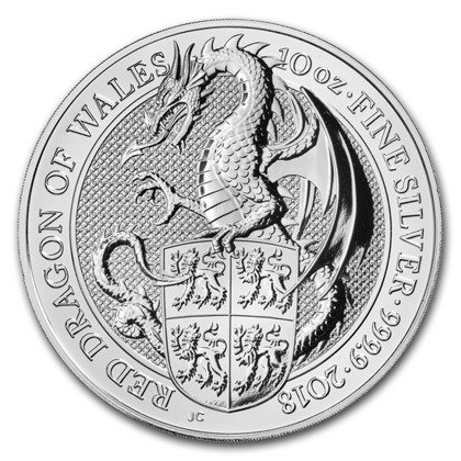 The Queen's Beasts: The Red Dragon of Wales 10 oz Silver 2018