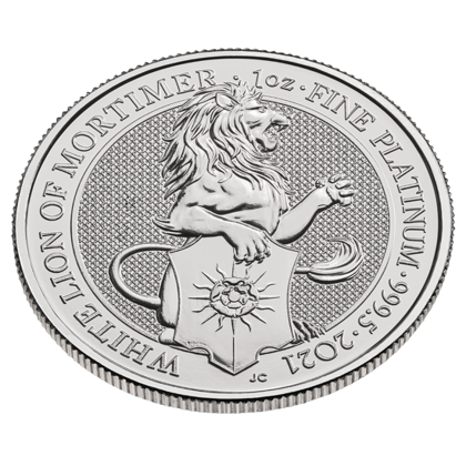 The Queen's Beasts: The White Lion of Mortimer 1 oz Platinum 2021 Investment Sets 10 Pc.