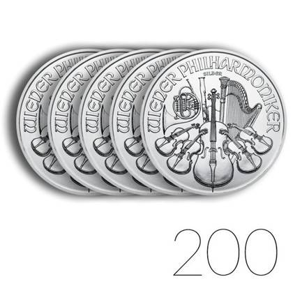 Vienna Philharmonic 1 oz Silver 2021 Investment Sets 200 Pc.