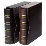 Classic Leather NUMIS ring Binders with SLIPCASE (brown)