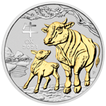Lunar III: Year of the Ox Gilded 1 oz Silver 2021 NO COIN BOX