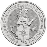 The Queen's Beasts: The White Lion of Mortimer 1 oz Platinum 2021