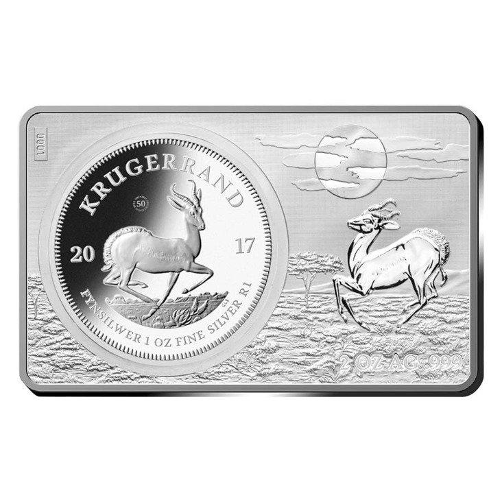 2 Stück Silber Barren Münzen Set 50 Jahre Krugerrand 2017
