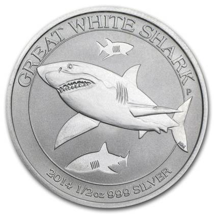 Great White Shark 1/2 oz Silver